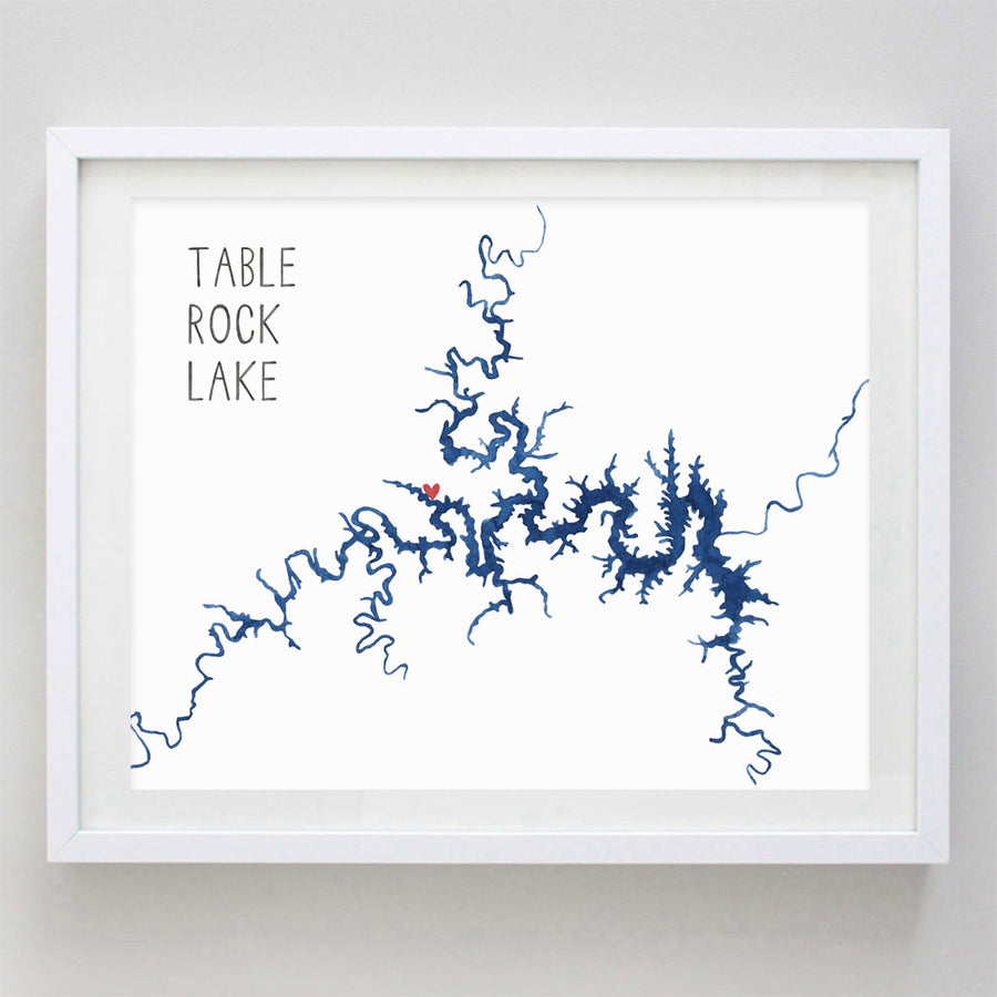 Table Rock Lake Watercolor Print