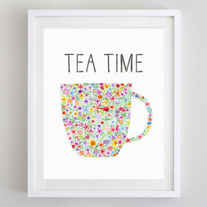 Tea Time Floral Watercolor Print