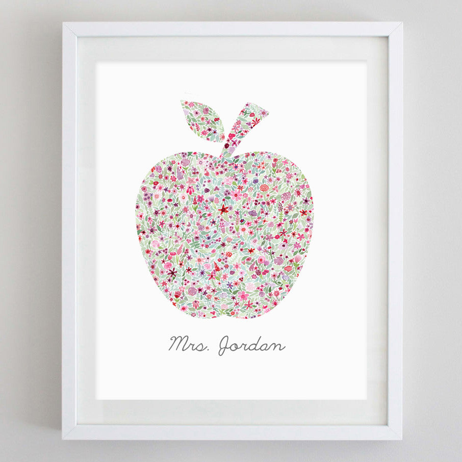 Custom Teacher Floral Watercolor Print