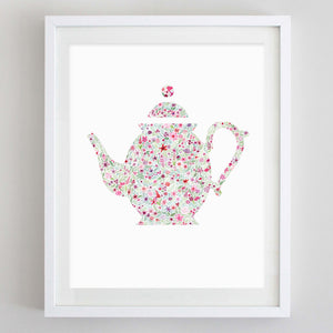 art print - teapot floral watercolor print - carly rae studio