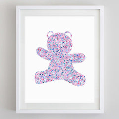 Teddy Bear Floral Watercolor Art Print - Sigma Delta Tau and Alpha Xi Delta