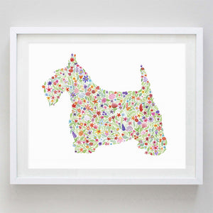 Scottish Terrier Floral Watercolor Print