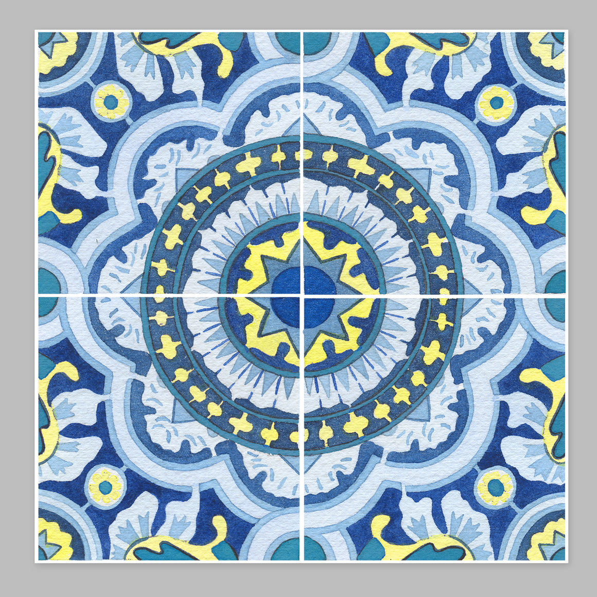 Tile #2 Pattern Watercolor Print