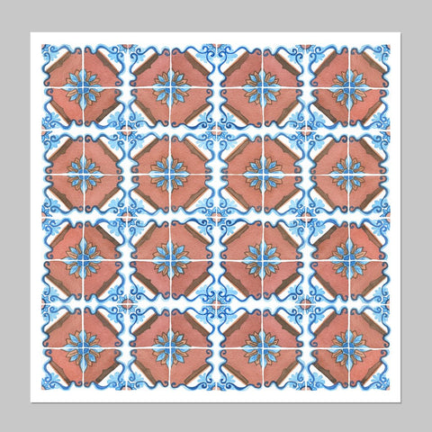 Tile Pattern Watercolor Print
