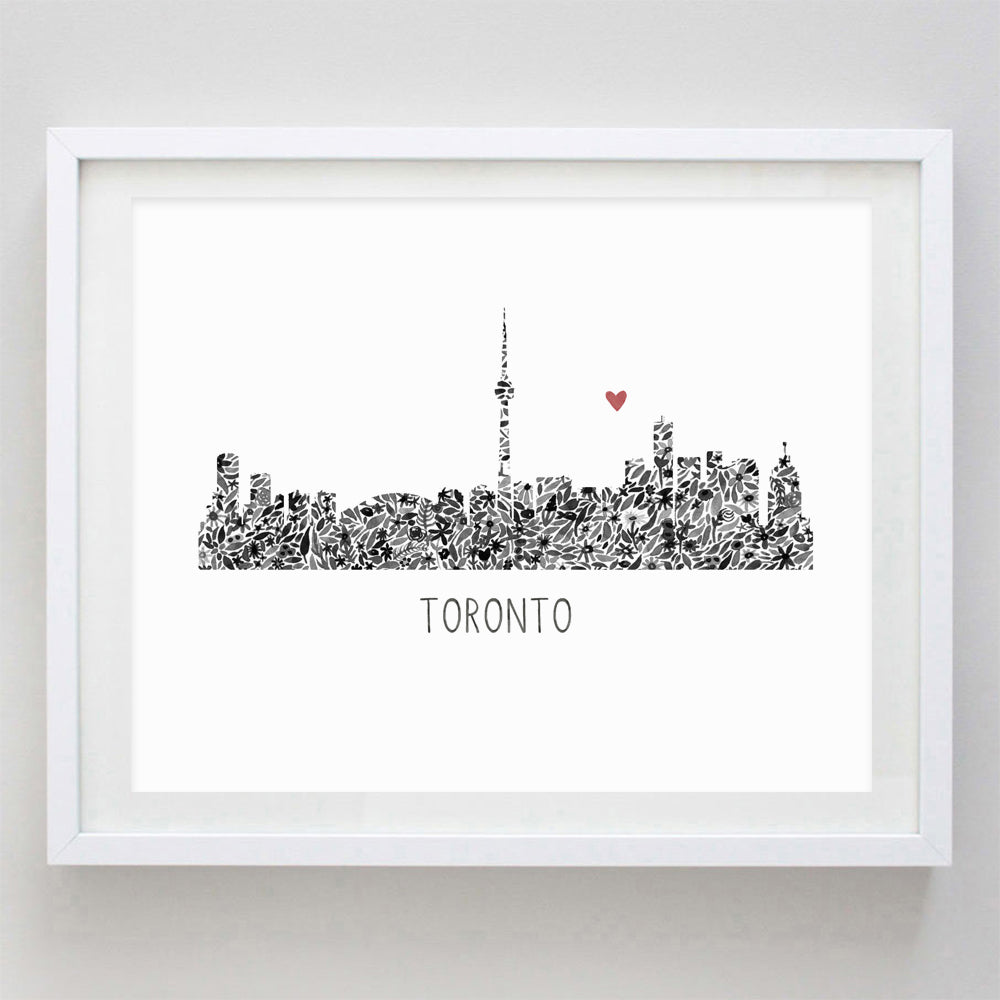 Toronto Skyline Floral Watercolor Print