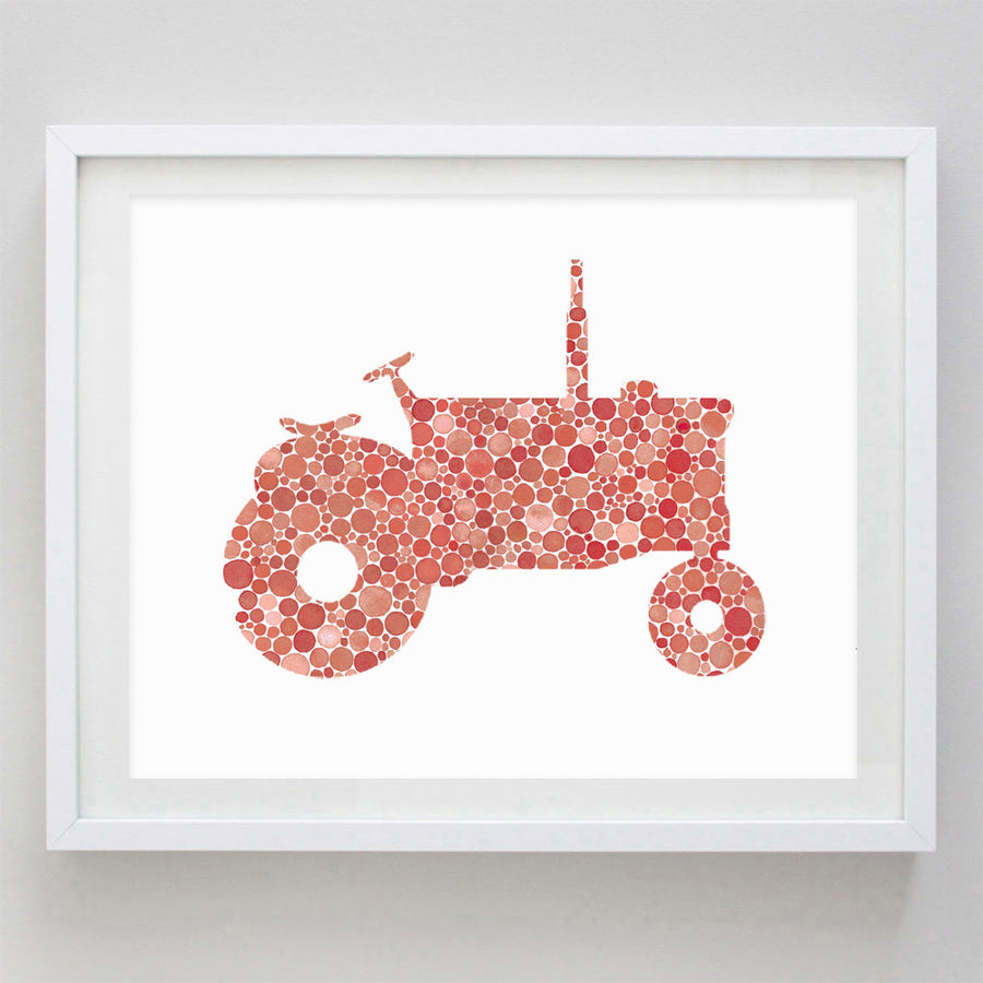 art print - tractor in red watercolor print - carly rae studio