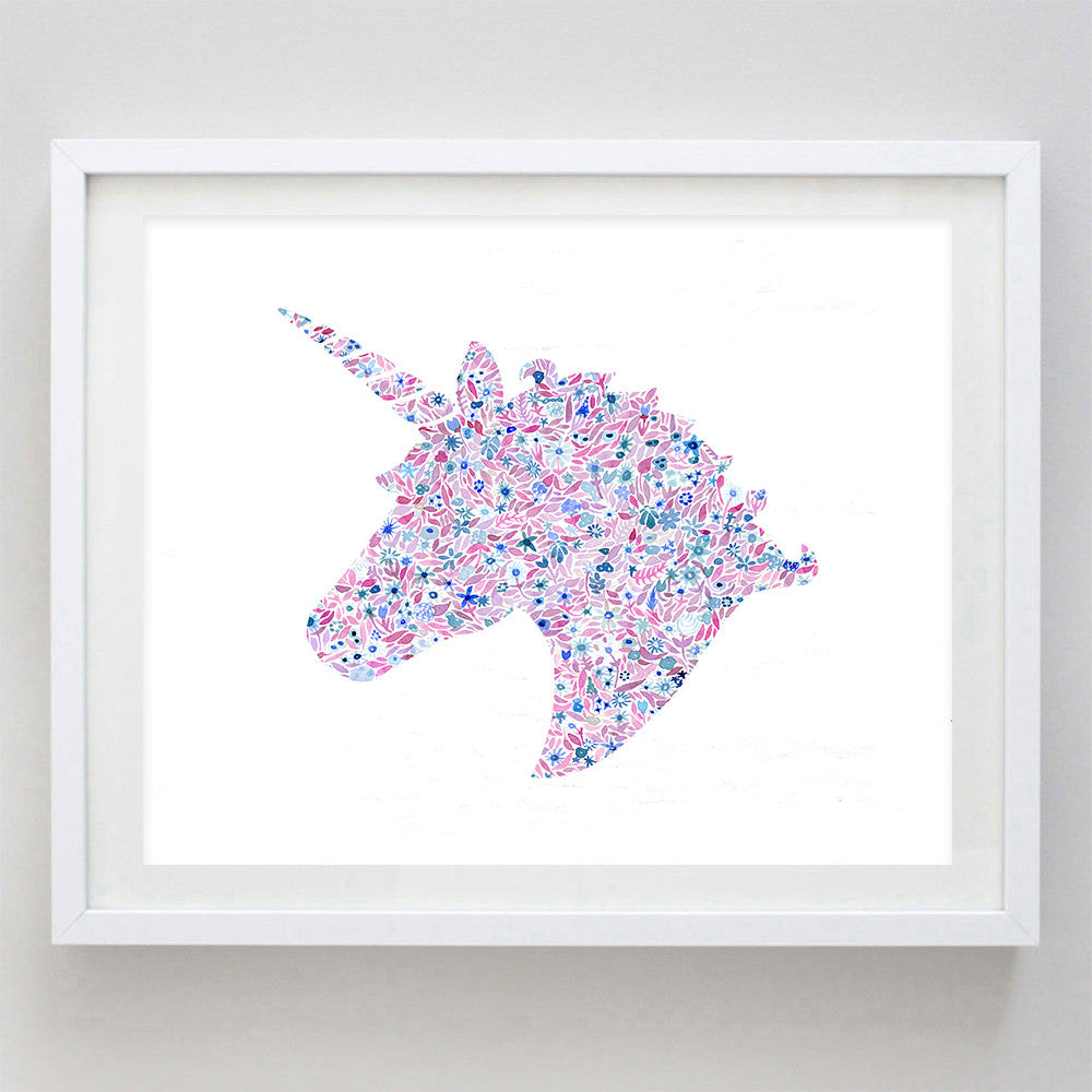 Unicorn Floral Watercolor Print - Delta Phi Epsilon