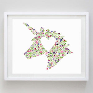 art print - unicorn floral watercolor print - carly rae studio