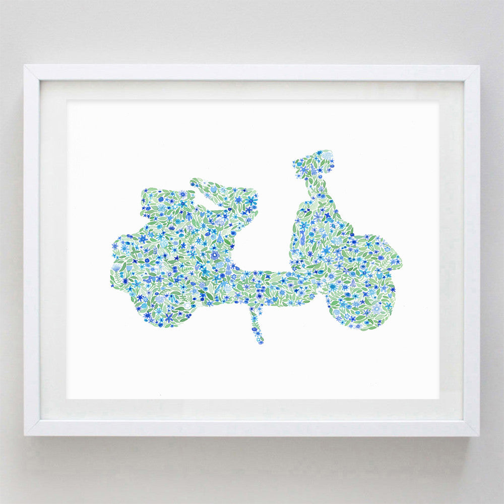 art print - blue vespa floral watercolor print - carly rae studio