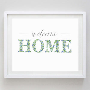Welcome Home Floral Watercolor Print