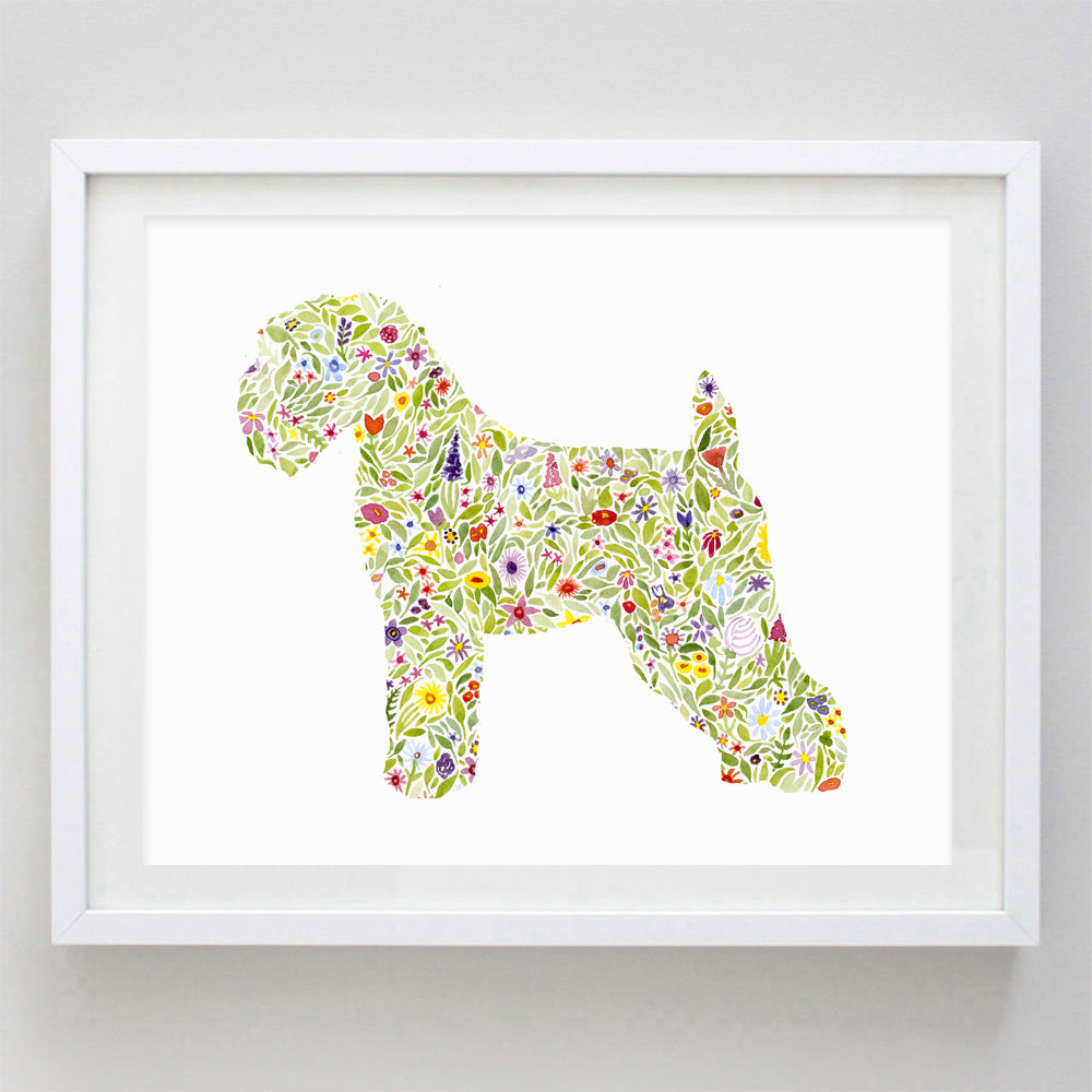 Wheaten Terrier Floral Watercolor Print