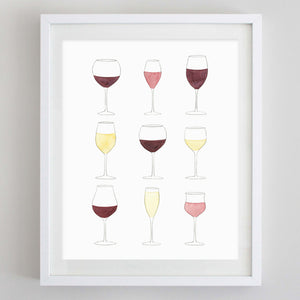 Wine Glasses Watercolor Print