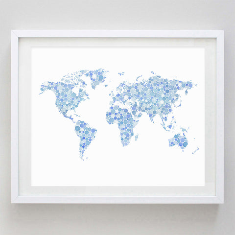 art print - blue world map watercolor print - carly rae studio