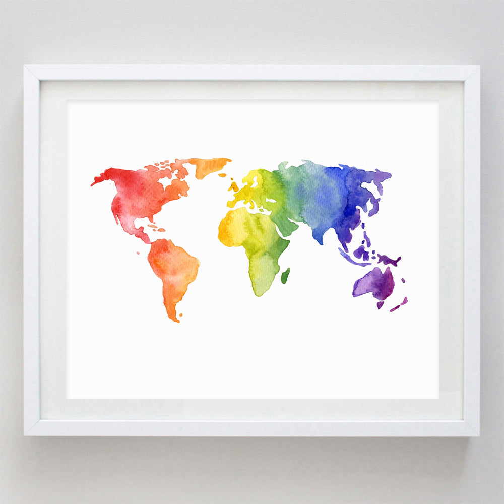 World Map Rainbow Watercolor Print
