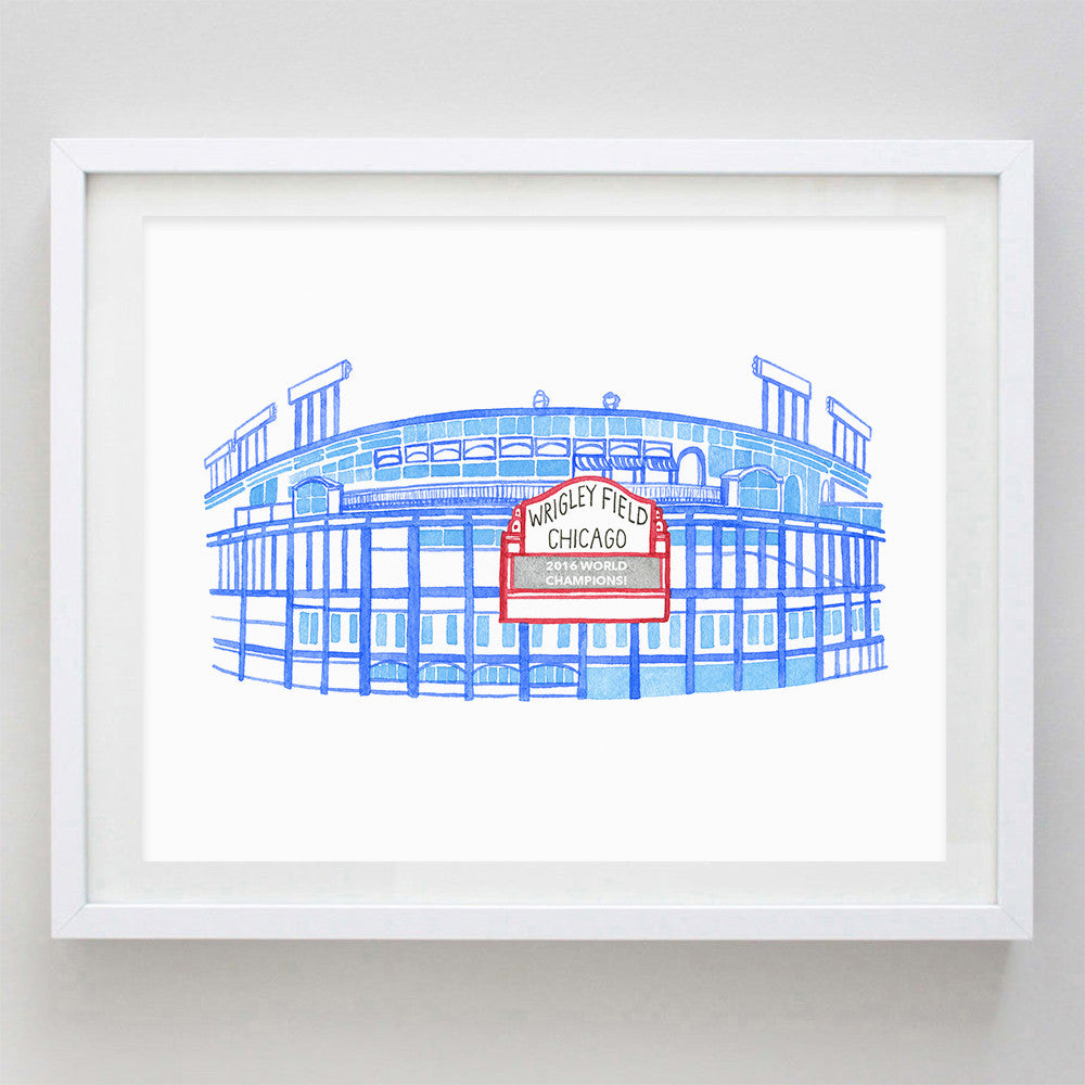 Wrigley Field Watercolor Print