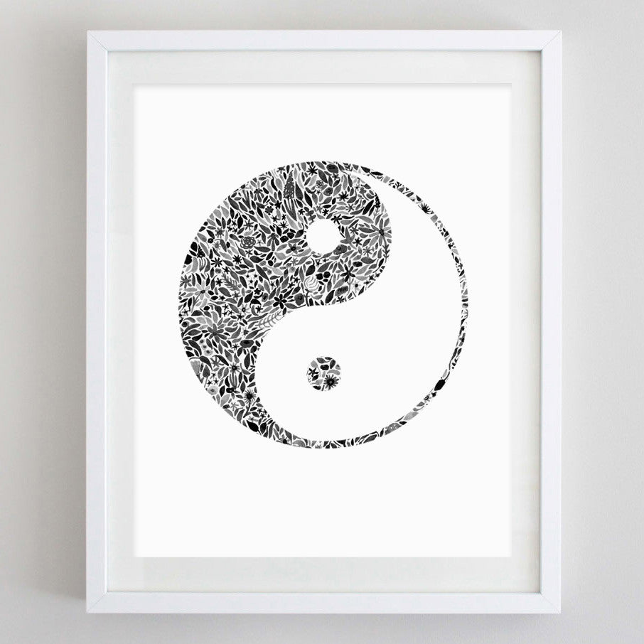 art print - yin yang floral watercolor print - carly rae studio