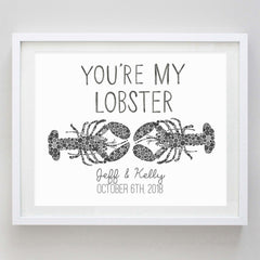 You're My Lobster Black Watercolor Print