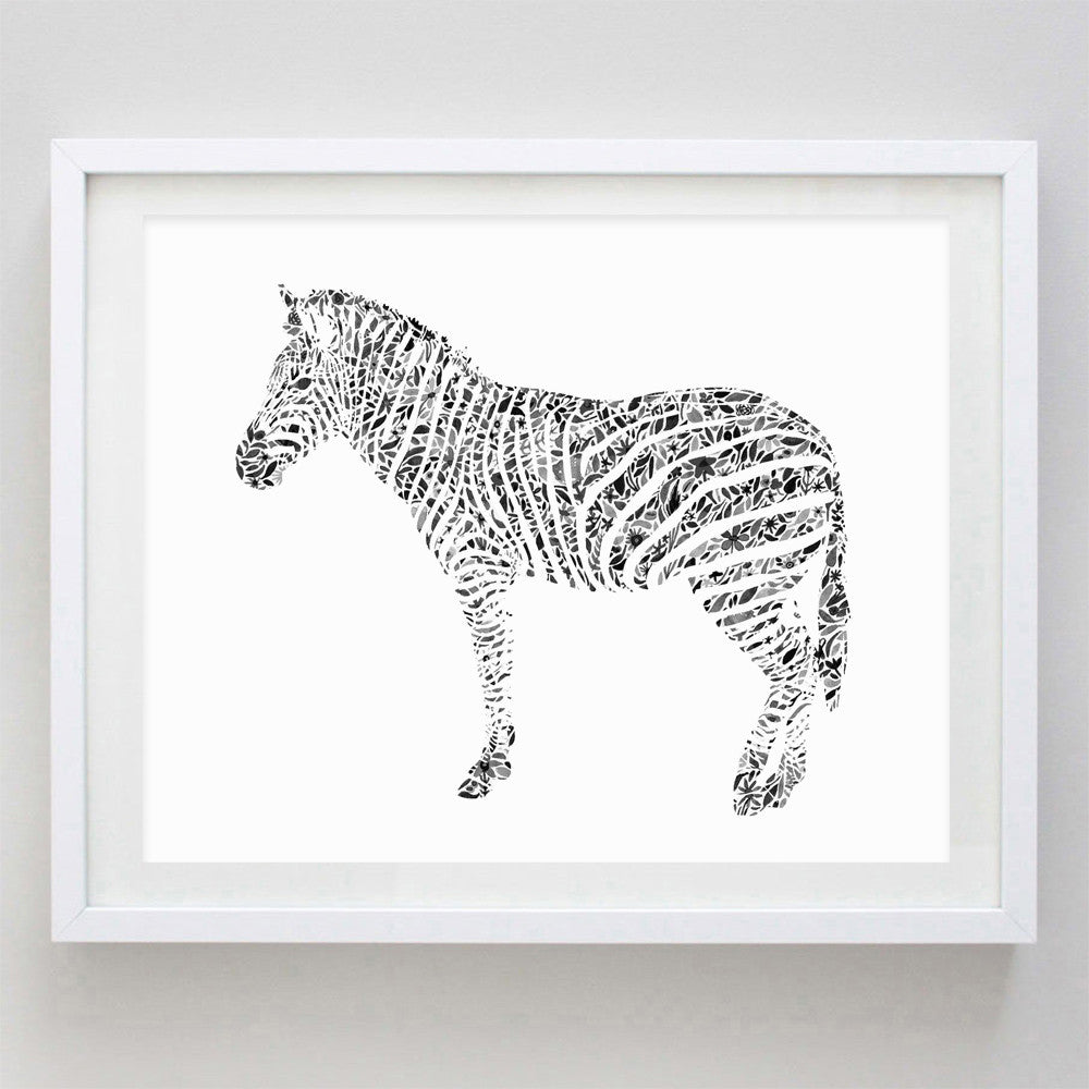 Zebra Floral Watercolor Print