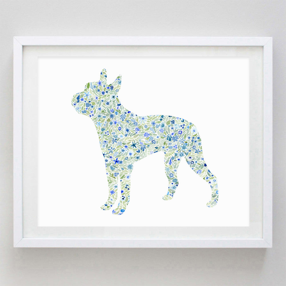 Boston Terrier Floral Watercolor Print
