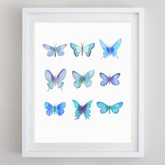 Butterflies Blue Watercolor Print