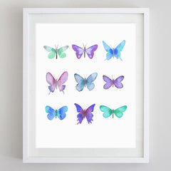 Butterflies Black and White Watercolor Print