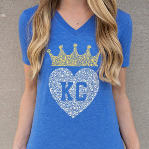 Kansas City Floral Crown V-Neck - Blue