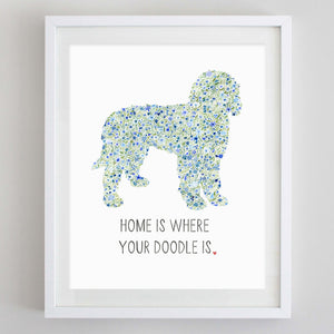 Golden Doodle Home Floral Watercolor Print