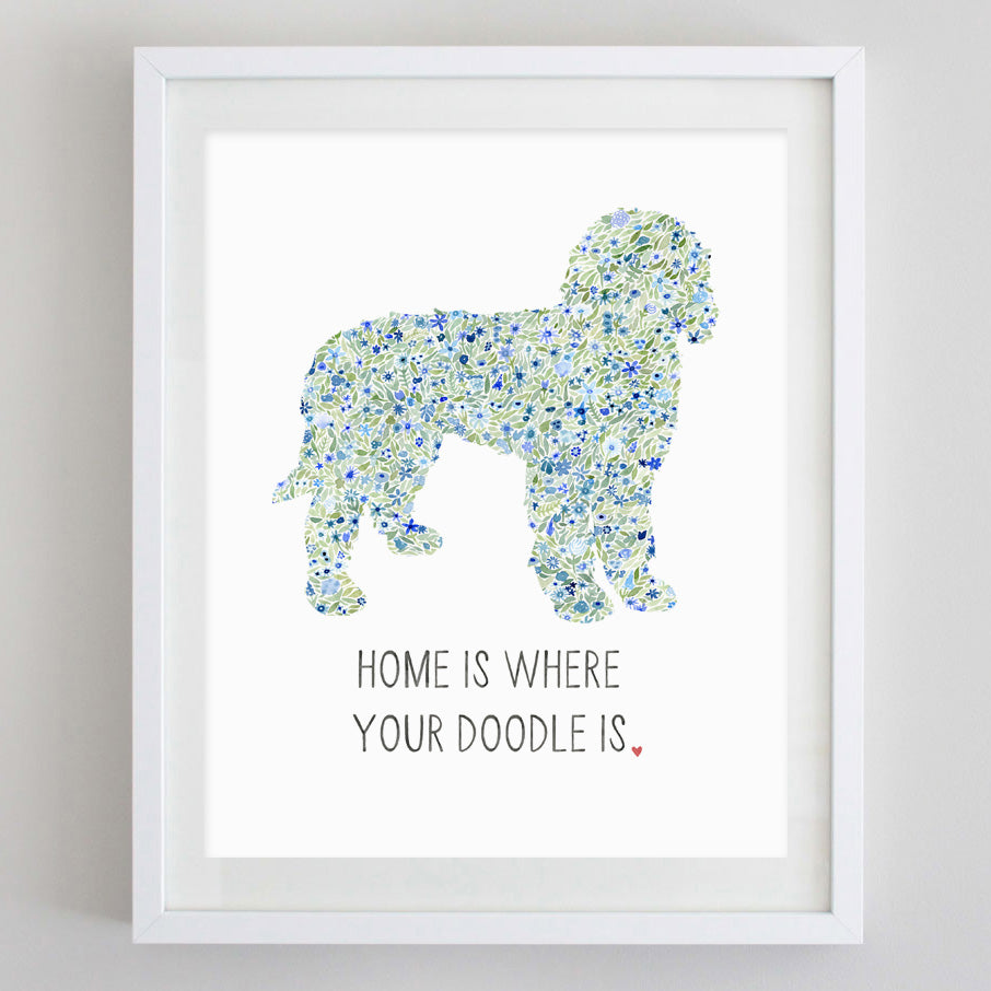 Home is Where Your (ANY BREED) Dog is Floral Watercolor Print