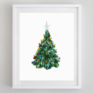 Vintage Christmas Tree Watercolor Print
