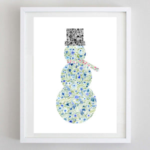 Snowman Floral Watercolor Print