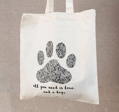 Dog Lover Floral Paw Print Tote Bag