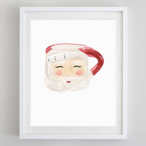 Set of 3 Vintage Santa Mugs Watercolor Print