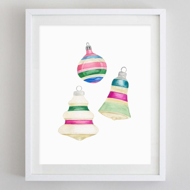 Vintage Ornaments Watercolor Print