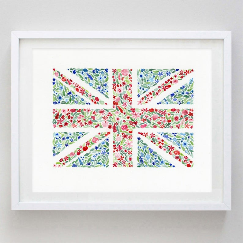 British Flag Floral Watercolor Print