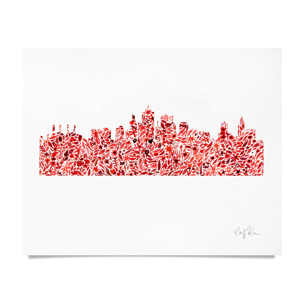 KC Skyline Red Floral Watercolor Print