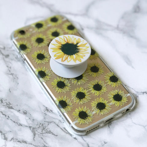 Pop Socket with Sunflower Watercolor Print (includes car mount)