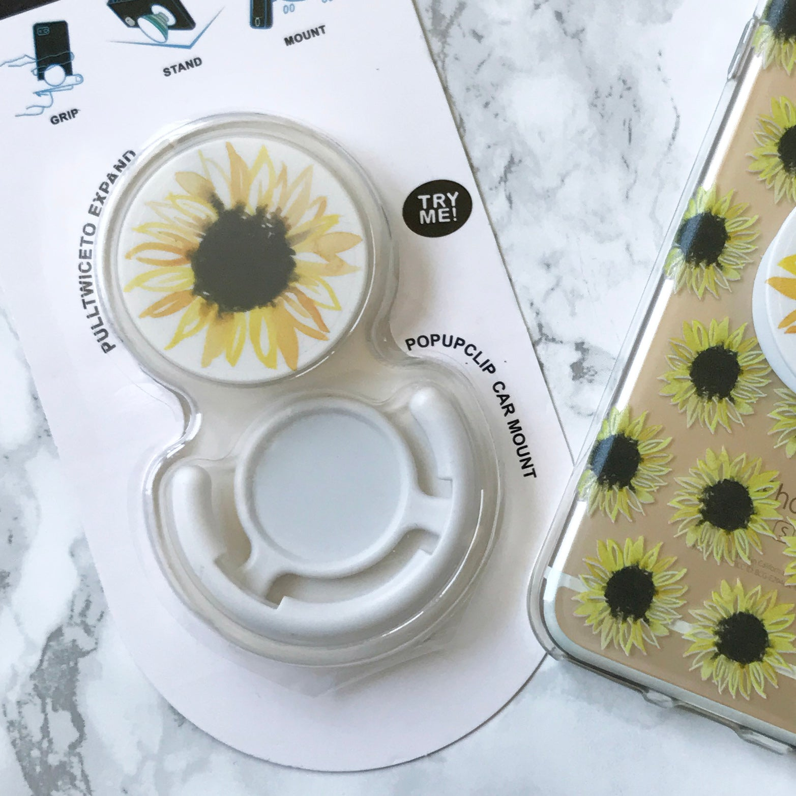 Pop Socket With Sunflower Watercolor Print Includes Car
