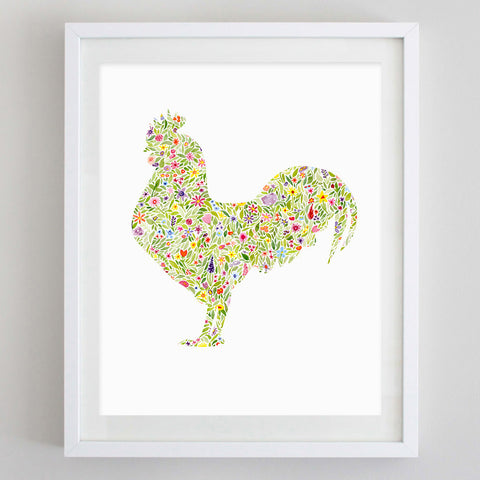 Rooster Floral Watercolor Print
