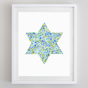 Star of David Floral Watercolor Print