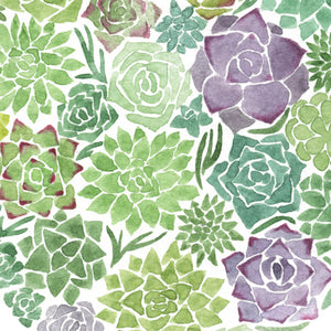 Succulent Love Heart Watercolor Print
