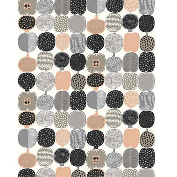 Kompotti Wallpaper in Coral and Grey
