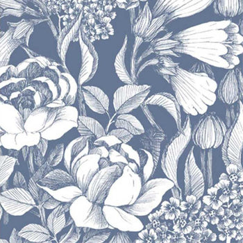 Oodi Floral Wallpaper in Dusty Blue