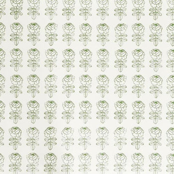 Pikkuruusu Rose Wallpaper Green on White