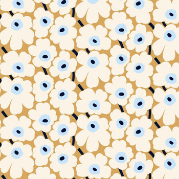 Pieni Unikko acrylic coated cotton in beige, natural white, blue