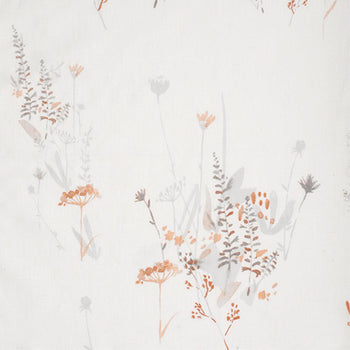 Wild Flower in Russet on White Linen