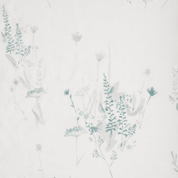 Wild Flower in Dusky Blue on White Linen