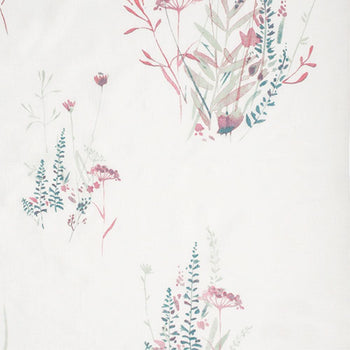 Wild Flower in Magenta on White Linen