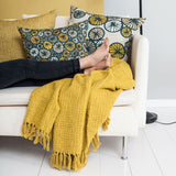 Olivia Cotton Tassle Throw in Mustard