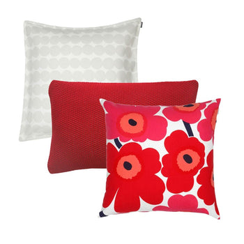 Pieni Unikko in reds 3 Cushion Bundle