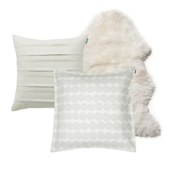 Rasymatto grey 2 Cushion Bundle with Sheepskin